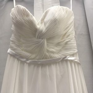Strapless Chiffon Gown - Off White Maxi Long Dress